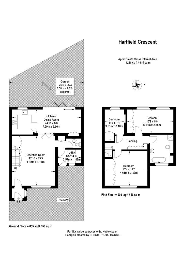 Floorplan for Hartfield Crescent, Wimbledon
